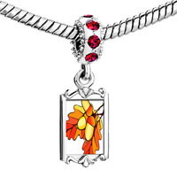 Charms Beads - red crystal dangle autumn fall acorn leaves Image.
