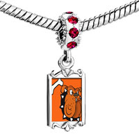 Charms Beads - red crystal dangle bulldog dog Image.