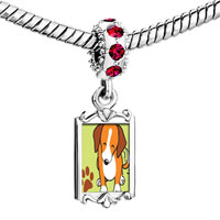 Charms Beads - red crystal dangle beagle dog Image.