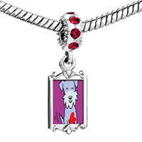 Charms Beads - red crystal dangle schnauzer dog Image.