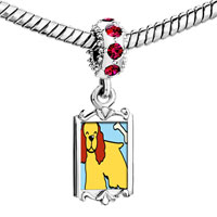 Charms Beads - red crystal dangle cocker spaniel dog yellow Image.