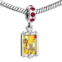 Charms Beads - red crystal dangle toy poodle dog Image.