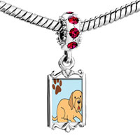 Charms Beads - red crystal dangle yellow labrador dog Image.