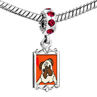 Charms Beads - red crystal dangle pug dog Image.