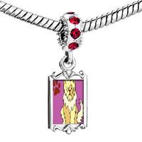 Charms Beads - red crystal dangle sheepdog animal Image.
