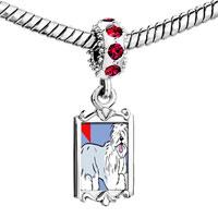 Charms Beads - red crystal dangle old english sheepdog animal Image.