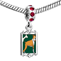 Charms Beads - red crystal dangle boxer dog bone Image.
