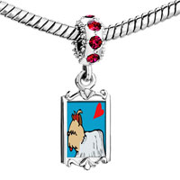 Charms Beads - red crystal dangle yorkshire terrier dog white Image.