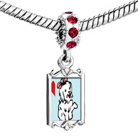 Charms Beads - red crystal dangle maltese dog white Image.