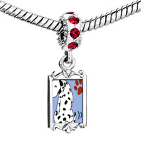 Charms Beads - red crystal dangle grin dalmatian dog Image.
