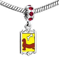 Charms Beads - red crystal dangle dachshund dog bone Image.