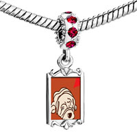 Charms Beads - red crystal dangle shar pei dog white Image.