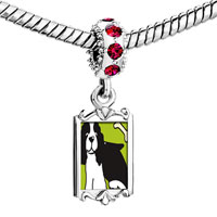 Charms Beads - red crystal dangle springer spaniel dog Image.