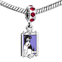 Charms Beads - red crystal dangle alaskan husky dog Image.