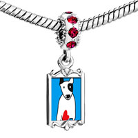 Charms Beads - red crystal dangle bull terrier dog Image.