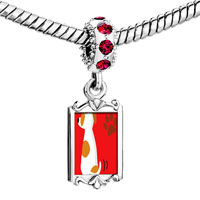 Charms Beads - red crystal dangle jack russell terrier dog Image.