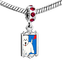 Charms Beads - red crystal dangle westie dog Image.