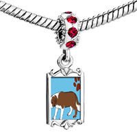Charms Beads - red crystal dangle saint bernard dog Image.