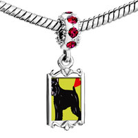 Charms Beads - red crystal dangle bouvier dog Image.