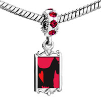Charms Beads - red crystal dangle scottie dog Image.