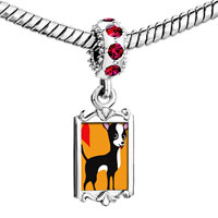 Charms Beads - red crystal dangle chihuahua dog Image.