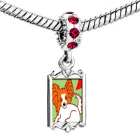Charms Beads - red crystal dangle cartoon papillion dog Image.