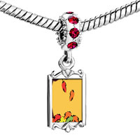 Charms Beads - red crystal dangle fallen autumn leaves Image.