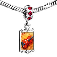 Charms Beads - red crystal dangle violin music Image.