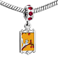 Charms Beads - red crystal dangle cat plays apples Image.