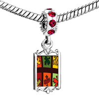 Charms Beads - red crystal dangle multicolored autumn leaves Image.