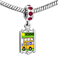 Charms Beads - red crystal dangle fun school bus Image.