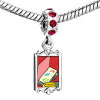 Charms Beads - red crystal dangle alphabet book Image.