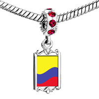 Charms Beads - red crystal dangle colombia flag Image.