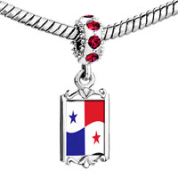 Charms Beads - red crystal dangle panama flag Image.