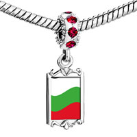 Charms Beads - red crystal dangle bulgaria flag Image.