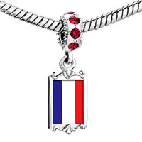 Charms Beads - red crystal dangle france flag Image.