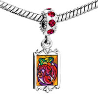 Charms Beads - red crystal dangle art lobster dinner Image.