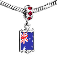 Charms Beads - red crystal dangle australia flag Image.