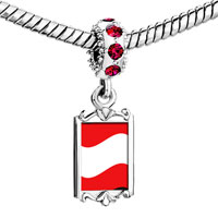 Charms Beads - red crystal dangle austria flag Image.