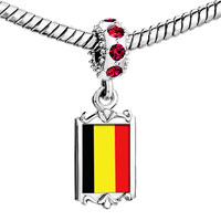 Charms Beads - red crystal dangle belgium flag Image.
