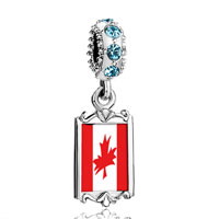 Aquamarine Crystal Dangle Canada Flag