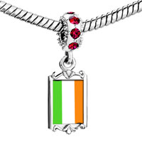 Charms Beads - red crystal dangle irel flag Image.