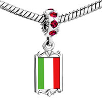 Charms Beads - red crystal dangle italy flag Image.