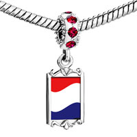 Charms Beads - red crystal dangle netherls flag Image.