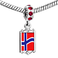 Charms Beads - red crystal dangle norway flag Image.