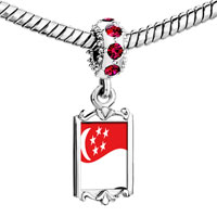 Charms Beads - red crystal dangle singapore flag Image.