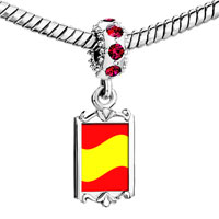 Charms Beads - red crystal dangle spain flag Image.