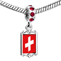 Charms Beads - red crystal dangle switzerl flag Image.