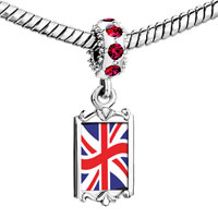 Charms Beads - red crystal dangle united kingdom flag Image.