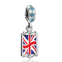 Aquamarine Crystal Dangle United Kingdom Flag